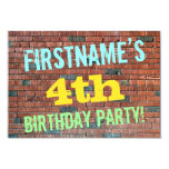 [ Thumbnail: Brick Wall Graffiti Inspired 4th Birthday + Name Invitation ]