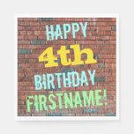 [ Thumbnail: Brick Wall Graffiti Inspired 4th Birthday + Name Paper Napkin ]