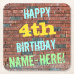 [ Thumbnail: Brick Wall Graffiti Inspired 4th Birthday + Name Paper Coaster ]