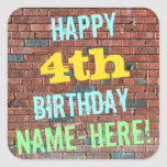 [ Thumbnail: Brick Wall Graffiti Inspired 4th Birthday + Name Sticker ]