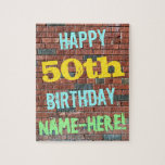 [ Thumbnail: Brick Wall Graffiti Inspired 50th Birthday + Name Jigsaw Puzzle ]