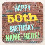 [ Thumbnail: Brick Wall Graffiti Inspired 50th Birthday + Name Paper Coaster ]