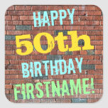 [ Thumbnail: Brick Wall Graffiti Inspired 50th Birthday + Name Sticker ]