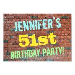[ Thumbnail: Brick Wall Graffiti Inspired 51st Birthday + Name Invitation ]