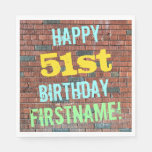 [ Thumbnail: Brick Wall Graffiti Inspired 51st Birthday + Name Napkin ]
