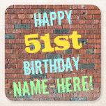 [ Thumbnail: Brick Wall Graffiti Inspired 51st Birthday + Name Paper Coaster ]
