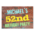 [ Thumbnail: Brick Wall Graffiti Inspired 52nd Birthday + Name Invitation ]