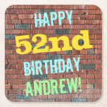 [ Thumbnail: Brick Wall Graffiti Inspired 52nd Birthday + Name Paper Coaster ]