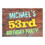[ Thumbnail: Brick Wall Graffiti Inspired 53rd Birthday + Name Invitation ]