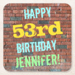[ Thumbnail: Brick Wall Graffiti Inspired 53rd Birthday + Name Paper Coaster ]