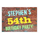 [ Thumbnail: Brick Wall Graffiti Inspired 54th Birthday + Name Invitation ]