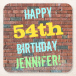 [ Thumbnail: Brick Wall Graffiti Inspired 54th Birthday + Name Paper Coaster ]