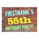 [ Thumbnail: Brick Wall Graffiti Inspired 55th Birthday + Name Invitation ]