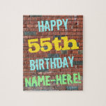 [ Thumbnail: Brick Wall Graffiti Inspired 55th Birthday + Name Jigsaw Puzzle ]