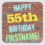 [ Thumbnail: Brick Wall Graffiti Inspired 55th Birthday + Name Sticker ]