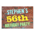 [ Thumbnail: Brick Wall Graffiti Inspired 56th Birthday + Name Invitation ]