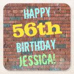 [ Thumbnail: Brick Wall Graffiti Inspired 56th Birthday + Name Paper Coaster ]