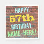 [ Thumbnail: Brick Wall Graffiti Inspired 57th Birthday + Name Napkin ]