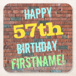 [ Thumbnail: Brick Wall Graffiti Inspired 57th Birthday + Name Paper Coaster ]