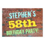 [ Thumbnail: Brick Wall Graffiti Inspired 58th Birthday + Name Invitation ]
