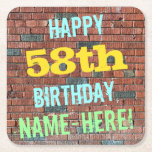 [ Thumbnail: Brick Wall Graffiti Inspired 58th Birthday + Name Paper Coaster ]