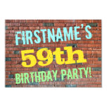[ Thumbnail: Brick Wall Graffiti Inspired 59th Birthday + Name Invitation ]