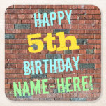 [ Thumbnail: Brick Wall Graffiti Inspired 5th Birthday + Name Paper Coaster ]