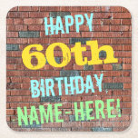 [ Thumbnail: Brick Wall Graffiti Inspired 60th Birthday + Name Paper Coaster ]