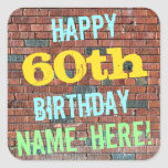 [ Thumbnail: Brick Wall Graffiti Inspired 60th Birthday + Name Sticker ]
