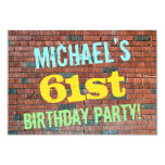 [ Thumbnail: Brick Wall Graffiti Inspired 61st Birthday + Name Invitation ]