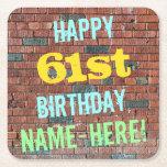 [ Thumbnail: Brick Wall Graffiti Inspired 61st Birthday + Name Paper Coaster ]