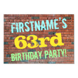 [ Thumbnail: Brick Wall Graffiti Inspired 63rd Birthday + Name Invitation ]