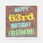 [ Thumbnail: Brick Wall Graffiti Inspired 63rd Birthday + Name Napkin ]
