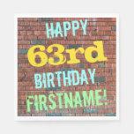 [ Thumbnail: Brick Wall Graffiti Inspired 63rd Birthday + Name Napkin ]