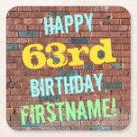 [ Thumbnail: Brick Wall Graffiti Inspired 63rd Birthday + Name Paper Coaster ]