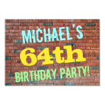 [ Thumbnail: Brick Wall Graffiti Inspired 64th Birthday + Name Invitation ]