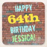 [ Thumbnail: Brick Wall Graffiti Inspired 64th Birthday + Name Paper Coaster ]