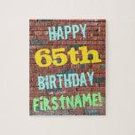 [ Thumbnail: Brick Wall Graffiti Inspired 65th Birthday + Name Jigsaw Puzzle ]