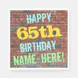 [ Thumbnail: Brick Wall Graffiti Inspired 65th Birthday + Name Paper Napkin ]