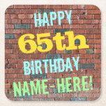[ Thumbnail: Brick Wall Graffiti Inspired 65th Birthday + Name Paper Coaster ]