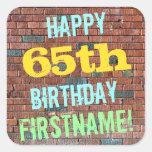 [ Thumbnail: Brick Wall Graffiti Inspired 65th Birthday + Name Sticker ]
