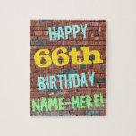 [ Thumbnail: Brick Wall Graffiti Inspired 66th Birthday + Name Jigsaw Puzzle ]