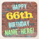 [ Thumbnail: Brick Wall Graffiti Inspired 66th Birthday + Name Paper Coaster ]