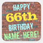 [ Thumbnail: Brick Wall Graffiti Inspired 66th Birthday + Name Sticker ]