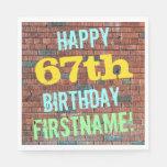 [ Thumbnail: Brick Wall Graffiti Inspired 67th Birthday + Name Paper Napkin ]