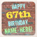 [ Thumbnail: Brick Wall Graffiti Inspired 67th Birthday + Name Paper Coaster ]