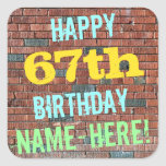 [ Thumbnail: Brick Wall Graffiti Inspired 67th Birthday + Name Sticker ]