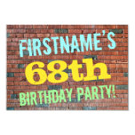 [ Thumbnail: Brick Wall Graffiti Inspired 68th Birthday + Name Invitation ]