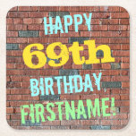 [ Thumbnail: Brick Wall Graffiti Inspired 69th Birthday + Name Paper Coaster ]
