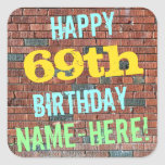 [ Thumbnail: Brick Wall Graffiti Inspired 69th Birthday + Name Sticker ]